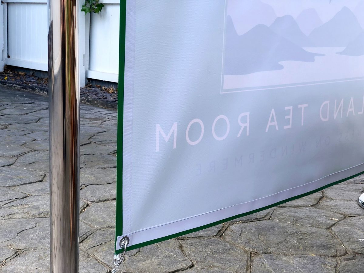 PVC banner for cafe oustide seating area